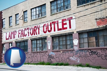 a lamp factory outlet store - with Alabama icon