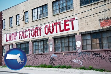 a lamp factory outlet store - with Massachusetts icon
