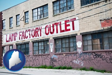 a lamp factory outlet store - with Maine icon