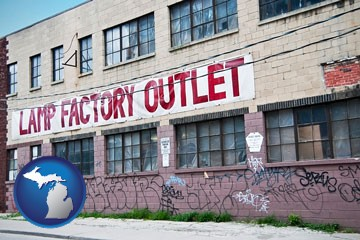 a lamp factory outlet store - with Michigan icon