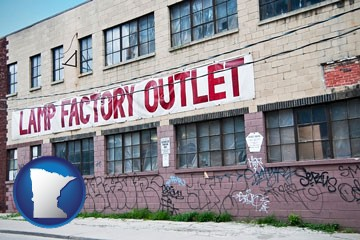 a lamp factory outlet store - with Minnesota icon
