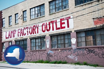 a lamp factory outlet store - with New York icon