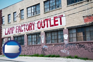a lamp factory outlet store - with Pennsylvania icon