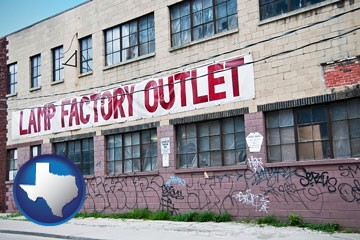 a lamp factory outlet store - with Texas icon